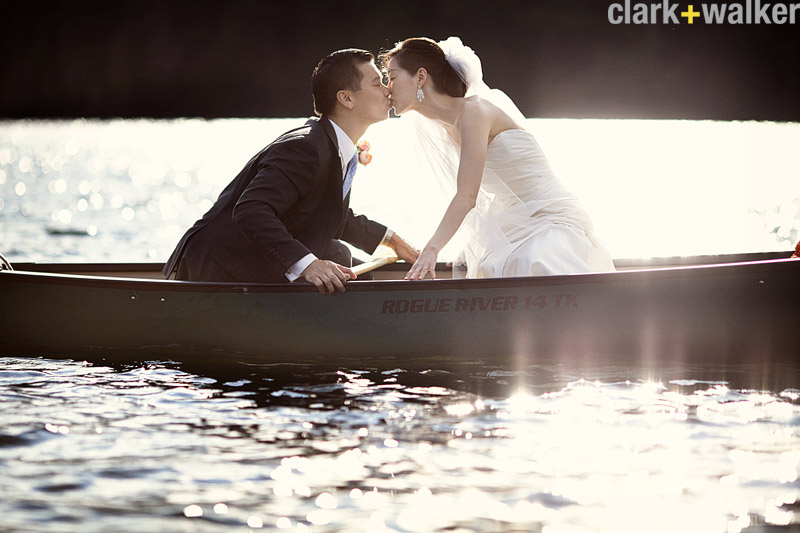 row boat wedding photos